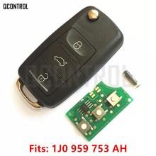 QCONTROL llave remota de 434MHz para coche, bricolaje, para VW/VOLKSWAGEN Passat/Bora/Polo/Golf/Beetle 1J0959753AH / HLO 1J0 959 753 AH