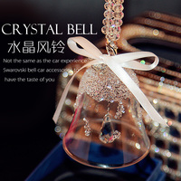 Creative Rearview Windbell Mirror Crystal Ornament Hanging Accessories Interior Bling Decoration Christmas Gifts