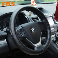 Genuine Leather Car Steering Wheel Cover Black Cars Interior Elegant Luxury Breathable Anti Slip 38cm For