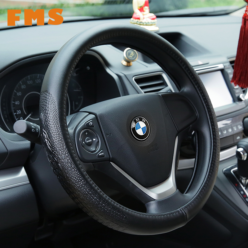 buy genuine leather car steering wheel cover black cars interior elegant luxury. Black Bedroom Furniture Sets. Home Design Ideas