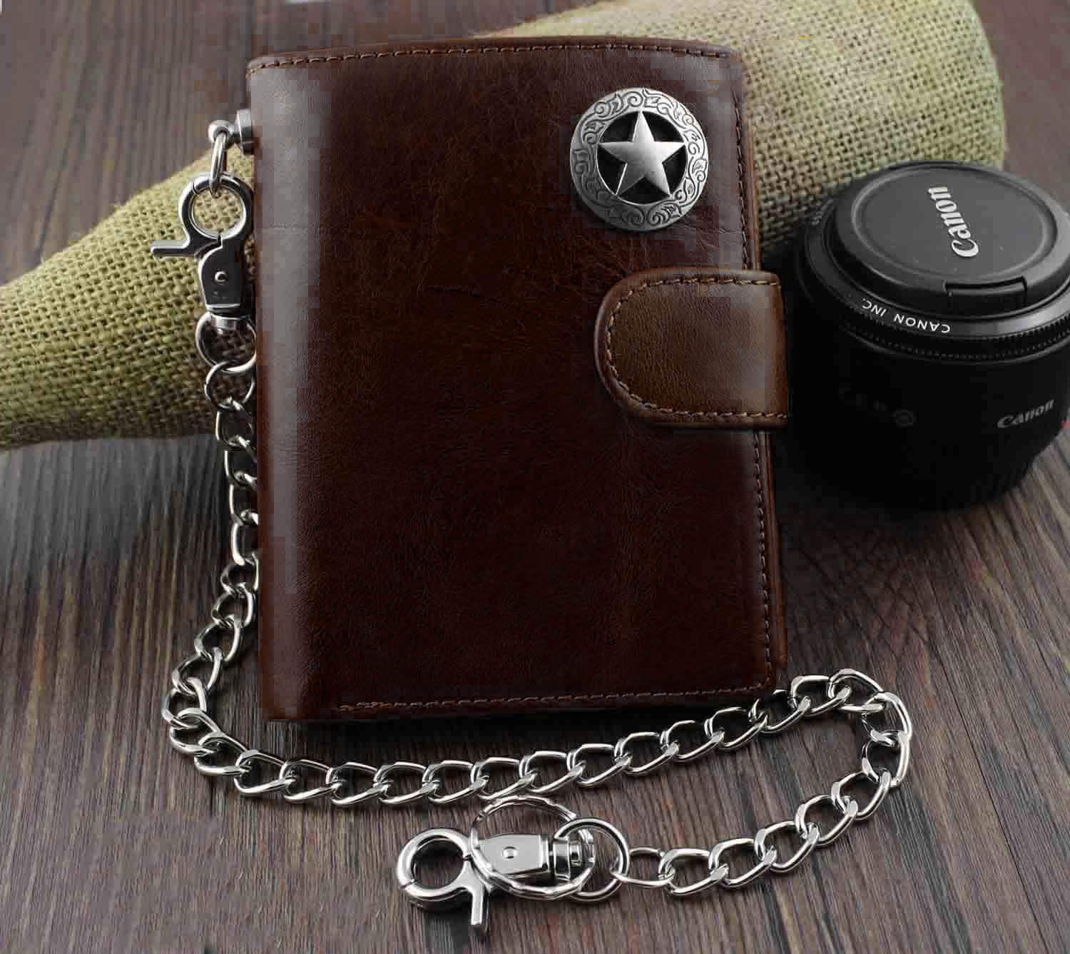 Trifold Wallet Purse Key-Chain Metal Vintage Coffee/black Men's Genuine-Leather Coins title=