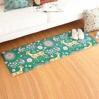 Comfortable Blue Deer Flowers Patterns Sofa Bedroom Carpet Environmental Protection Non Slip Living Room Rug Home
