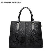 FLOWER POETRY Brand Women Luxury Handbags High Quality Snake Shoulder Bags Famous Designer Ladies Black Messenger