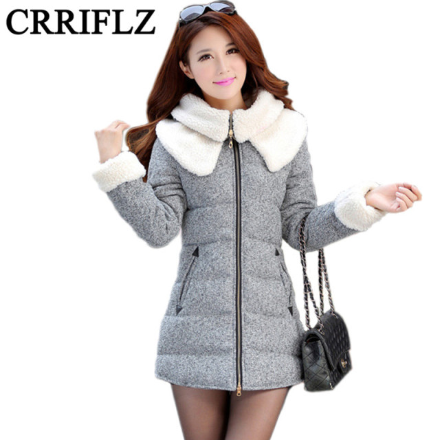 2016 New Womens Winter Jackets And Coats Slim Down Coat Padded Cashmere Winter Jacket Women Fur Long Overcoat Park IF510