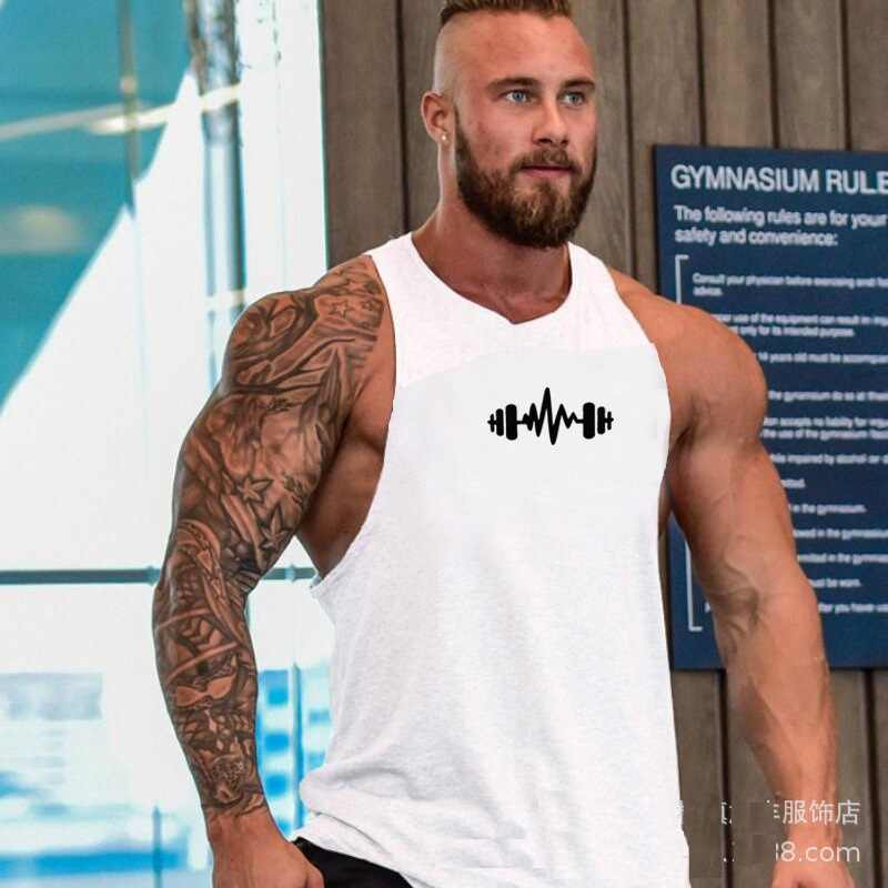 Spier Dragon Print Katoen Mouwloze Shirts Tank Top Mannen Fitness Shirt Heren Singlet Bodybuilding Workout Gym Vest Fitness