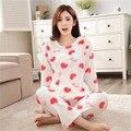 2016 Mulheres Pijamas de Inverno Quente Ponto Pijama Unicornio Polka Rosa Do Amor Do Coração Conjuntos Pijamas Homewear Pijamas Mujer Femme Sleepwear