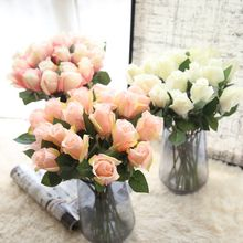10 Pcs Artificial Rose Silk Flower Fake Leaf Long Buds Decorative Flowers Home Wedding Decor Gift