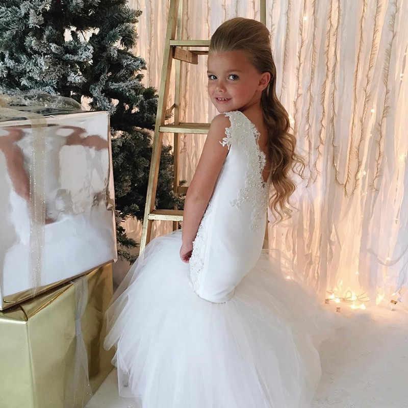 Vestidos de flores de sirena blanca de país para niñas vestidos de tul con cuentas de encaje