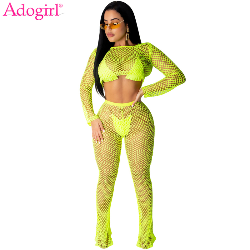 Adogirl Solid Fishnet Two Piece Set Women Summer Beach Suit Long Sleeve Crop Top + Straight Pants Sexy Club Outfits Tracksuit