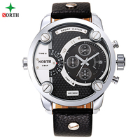 NORTH New Men Sports Watches With Two Time Zones Analog Auto Date Display Genuine Leather Strap