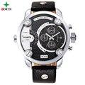 Los hombres de Cuero Genuino Moda Hombres de Acero Inoxidable Reloj Deportivo Hodinky Whatch Cuarzo Reloj de pulsera Impermeable Militar Relojes de Los Hombres