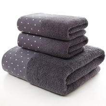 New Luxury100% Cotton Towel Set with 2 Face Washcloth+1 Bath Towels Bathroom for Family 3pcs/lot Guest Bathrooms Gym
