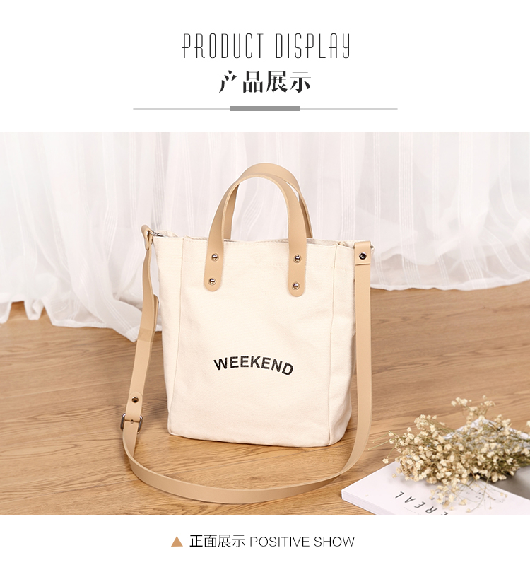 Bags for women 201 Campus Leisure Single Shoulder Bag Cylindrical alphabetical canvas ladies handbags