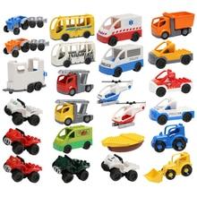 купить Large Particles Building Blocks Accessories DIY Vehicle Bricks Car Fire Truck Toys For Children Gift онлайн