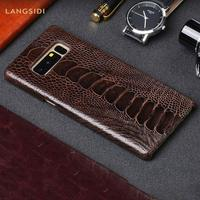 100% Original Genuine Ostrich Leather Cases for Samsung Galaxy Note 8 S8 S8+plus S9 S9plus Luxury Brown color Cover for Men gift