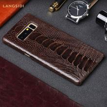 100% оригинальный из натуральной кожи страуса кожаный чехол для телефона Samsung Galaxy S20 ультра Примечание 10 8 9 s10 s7 S8 S9 плюс a50 a70 A71 A51 2020