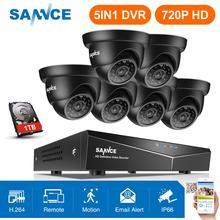 SANNCE 8CH 720P CCTV Sistema de Câmeras de Segurança HD 1080P DVR Kit 6PCS 1.0MP noite IR Vigilância à prova d água kit