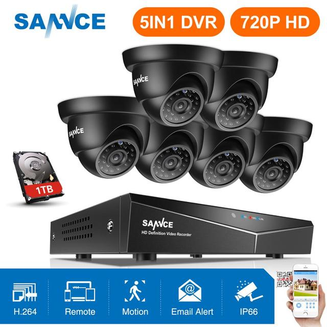 SANNCE 8CH 720P Cctv systeem HD 1080P DVR Kit 6PCS 1.0MP Beveiligingscameras IR nacht waterdichte Surveillance kit