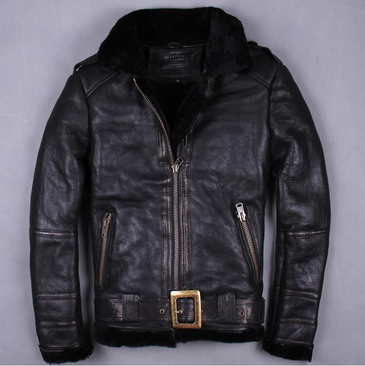 2017 new men imported fur calfskin leather casual jacket one fur real leather thick With velvet short coat cool M-3XL