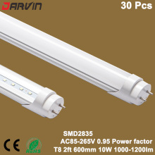 Led Fluorescent T8 Tube 2ft 60cm 10W Led Light Lamp 600mm Tube Super Bright Led Light, Manufacture Factory Promotion 30pcs/Lot