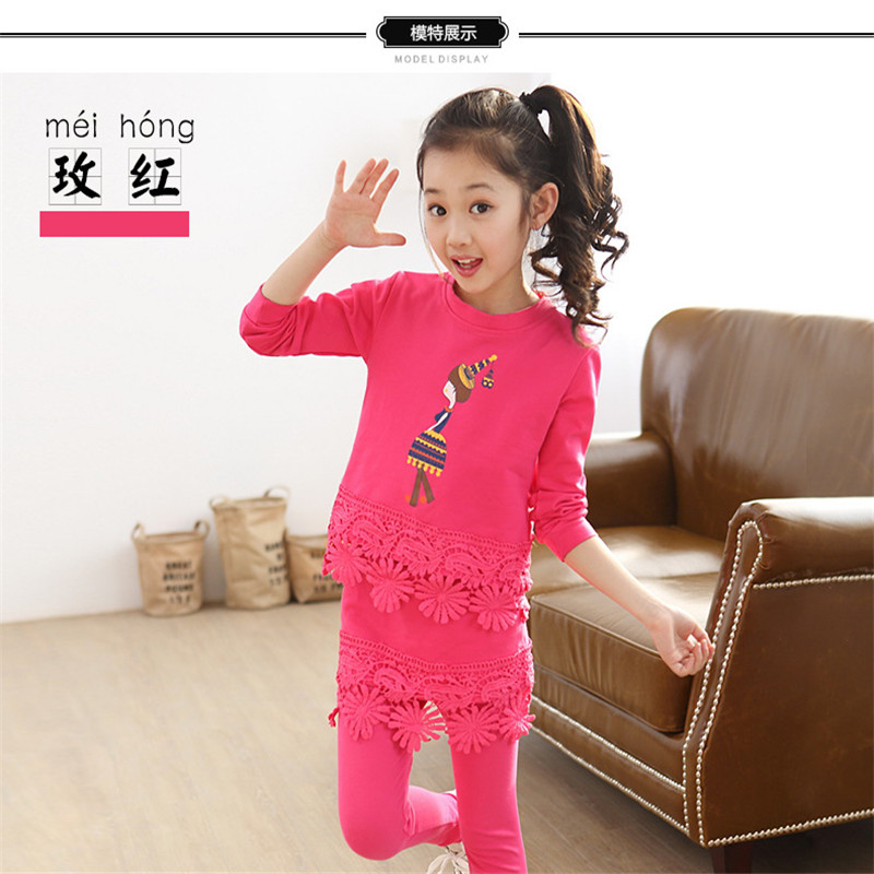 Free Package Mailed In The Spring Of 2016 The Autumn New Girls Cotton Bud Silk Suit Sets The Girls Sport  Clothing Sets