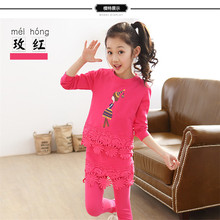 Free Package Mailed In The Spring Of 2016 The Autumn New Girls Cotton Bud Silk Suit