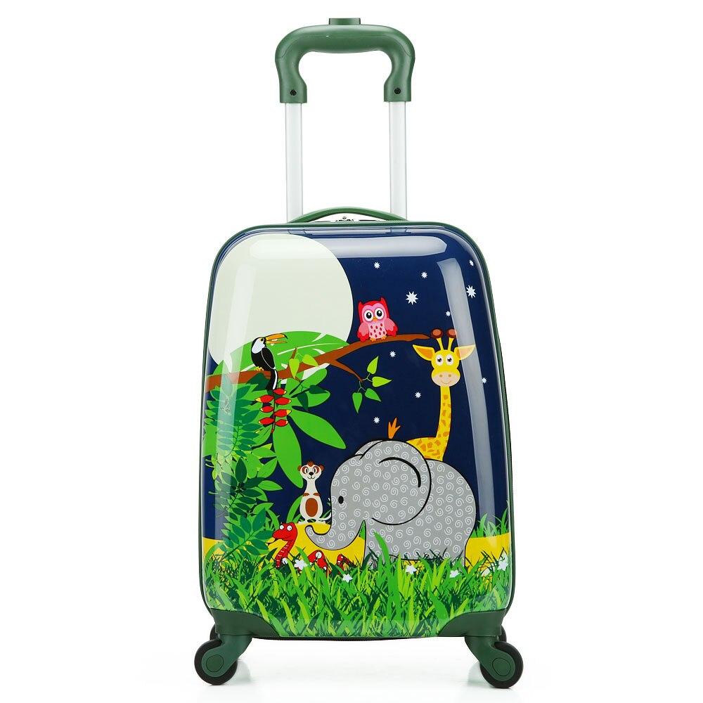 Letrend 18 дюймов милые дети мультфильм животных Сумки на колёсиках Spinner чемодан Колёса тележка малыш cabin школьная сумка для переноски на коробк...