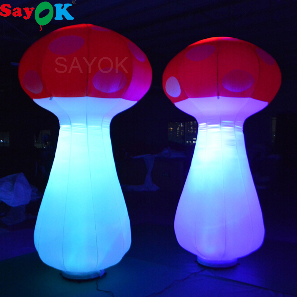 Sayok 2m/2.5m High Inflatable LED Lighting Mushroom Toy with 16 Color Changing Lights Air Blower for Party Stage DecorationsSayok 2m/2.5m High Inflatable LED Lighting Mushroom Toy with 16 Color Changing Lights Air Blower for Party Stage Decorations