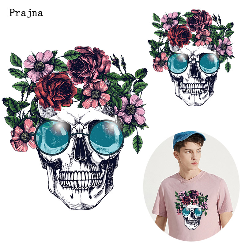 Prajna Flower Skull Heat Transfer Printed Iron On Stickers On T-shirt DIY Punk Thermal Transfer For Clothing Apparel Applique F