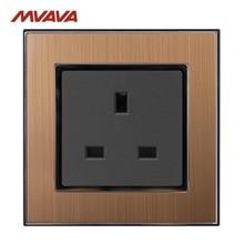 MVAVA 13A Wall Socket UK Standard Wall Outlet 110-250V Decorative Receptacle Power Socket Satin Metal Gold Panel Free Shipping