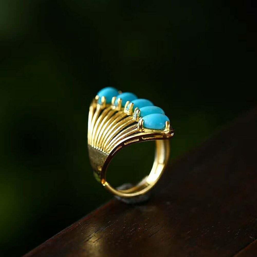 RADHORSE 925 Anneaux D'argent pour les Femmes Fine Jewelry Turquoise Paon queue Modélisation Sterling Bague En Argent Réglable plaqué Or