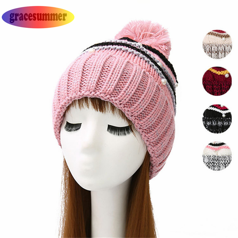 Gracesummer Womens Hat Winter Beanie Baggy Warm Wool Cap Hot Stripped Knitted imitation pearl decor Bonnet Femme Ladies Beanie wool felt cowboy hat stetson black 50cm