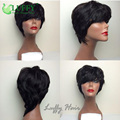 Wholesale Price Short Full Machine Made Human Hair Wigs With Bangs Natural Looking No Lace Human Hair Bob Wig Glueless