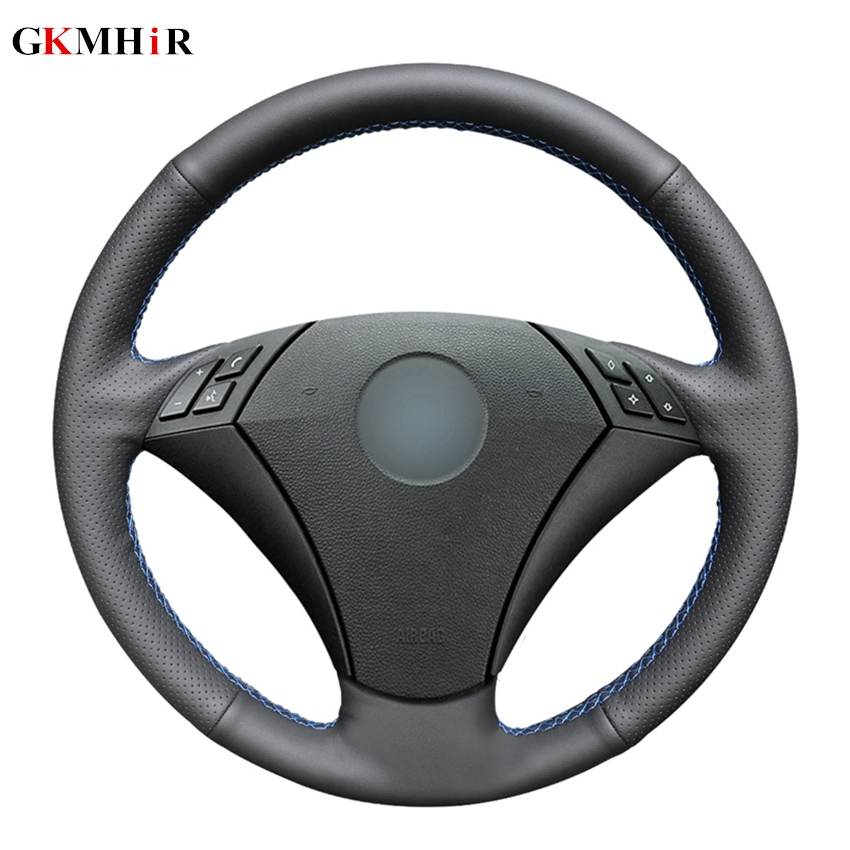 Hand-stitched Black Artificial Leather Steering Wheel Cover for <font><b>BMW</b></font> 530 523 523li 525 520li 535 <font><b>545i</b></font> <font><b>E60</b></font> image