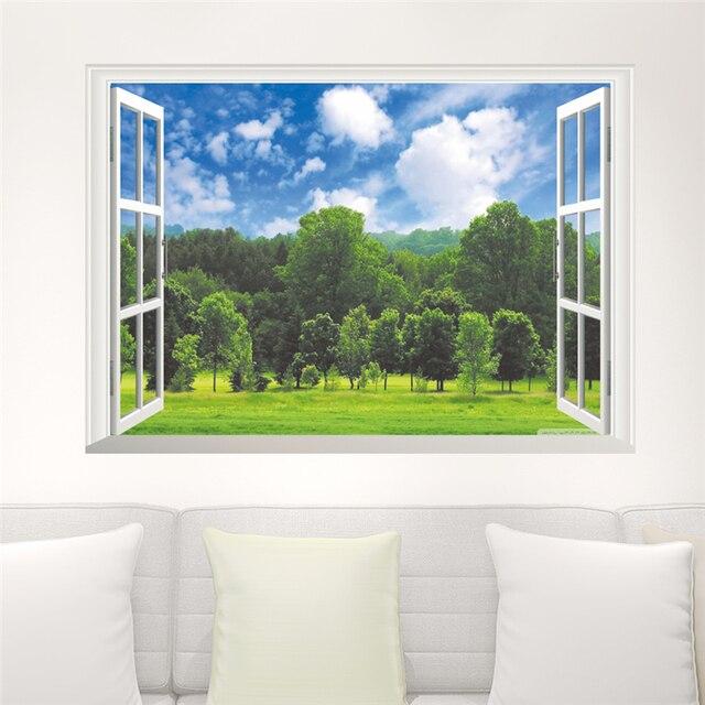Wald Baum Blauer Himmel 3D Wandaufkleber Abnehmbare Falsche Fenster Ansicht Landschaft Tapete Wohnzimmer Poster Dekorative Wohnkultur