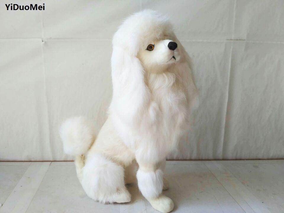 Simulação poodle cão modelo prop, polietileno & peles grande 33x24 cm branco de cócoras cão artesanato, casa decoração brinquedo d2655