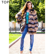TOPFUR 2019 Fashion Natural Fox Fur Coat Women Winter Jacket Gold & Silver stripe Outwear Autumn Real