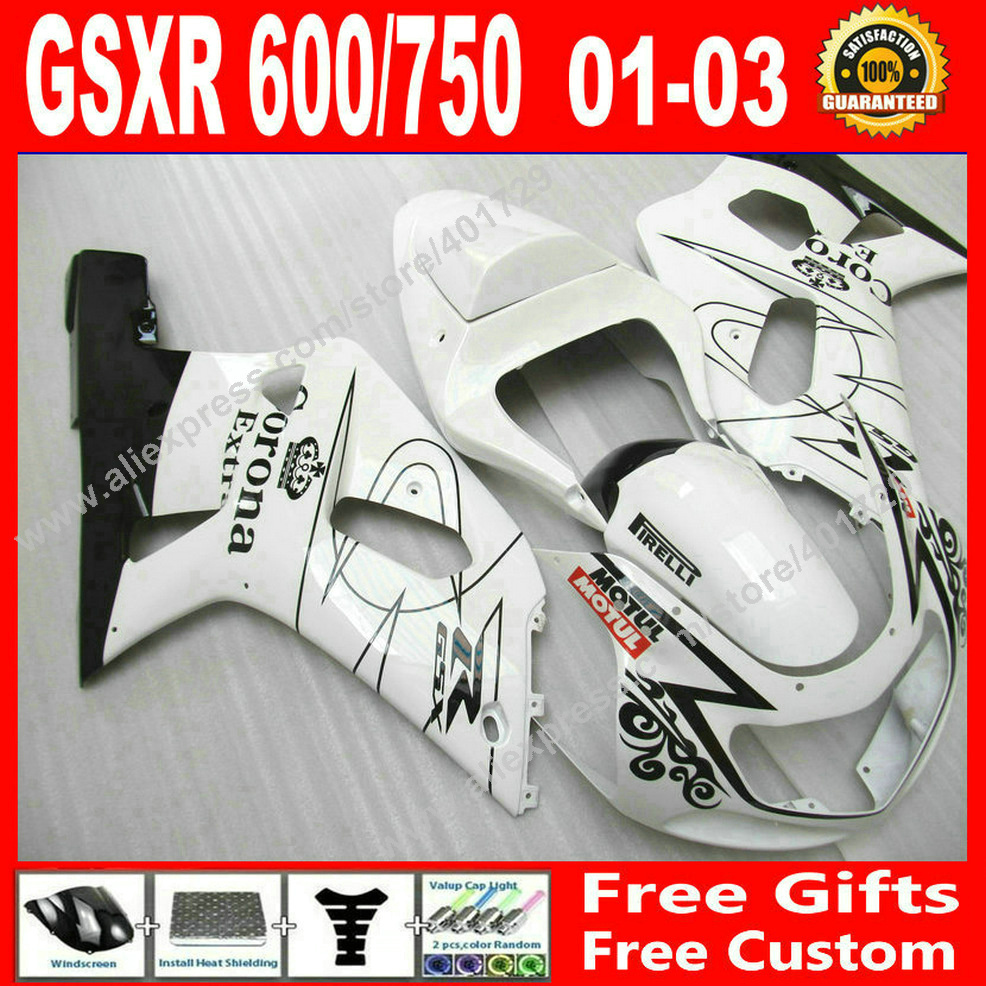 Hot sale Fairings for black white bodywork SUZUKI 2001 2002 2003 GSXR 600 750 motocycle  ...