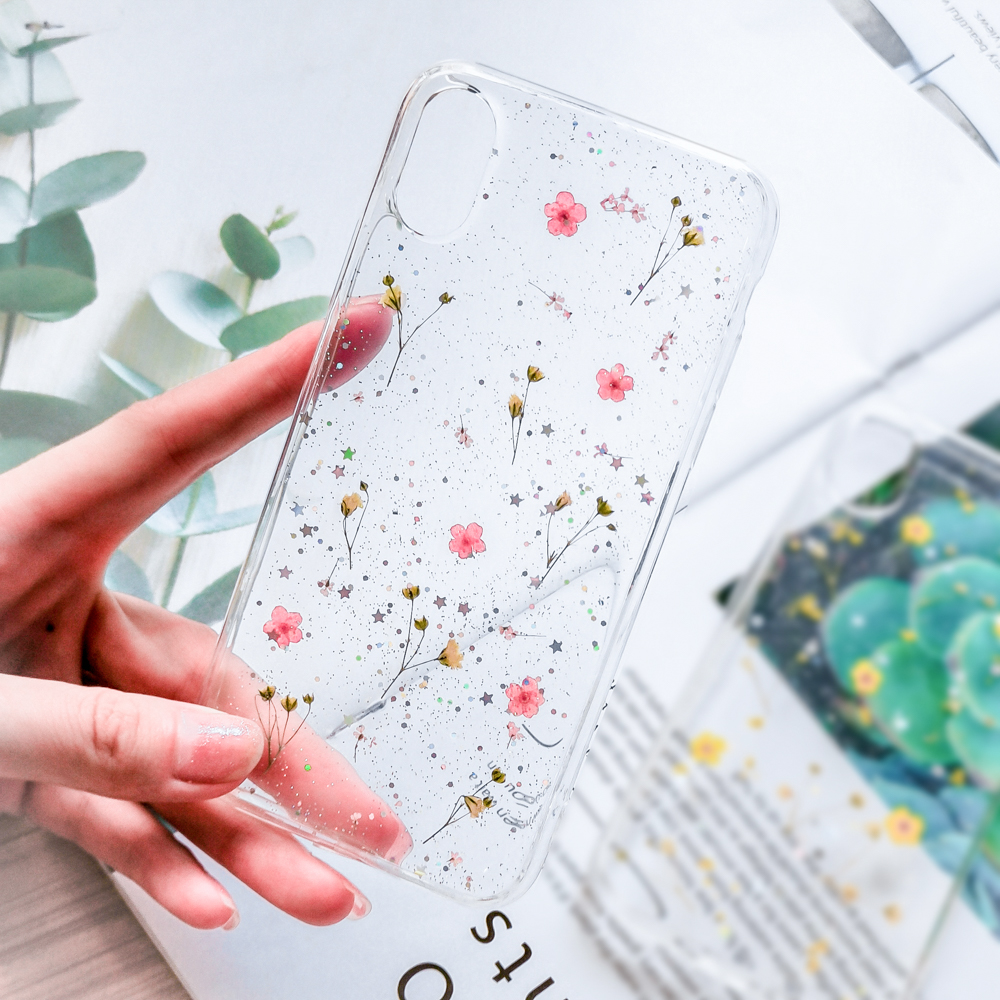 Real Flowers Dried Flowers Soft TPU Phone Case For iPhone X XS XR XS Max 6 6S 7 8 Plus Transparent Bling beautiful Back Cover in Fitted Cases from Cellphones Telecommunications