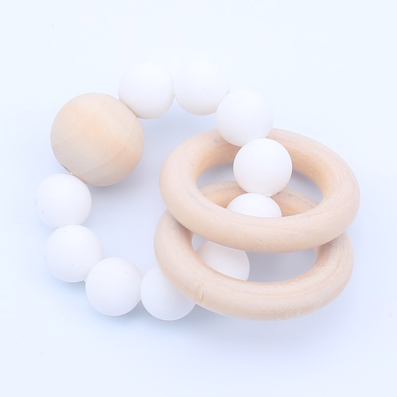 Kids Toys Wooden Rings 80mm Silicone Beads Teether Toys Baby Gifts Toddler Toys Baby Rattles