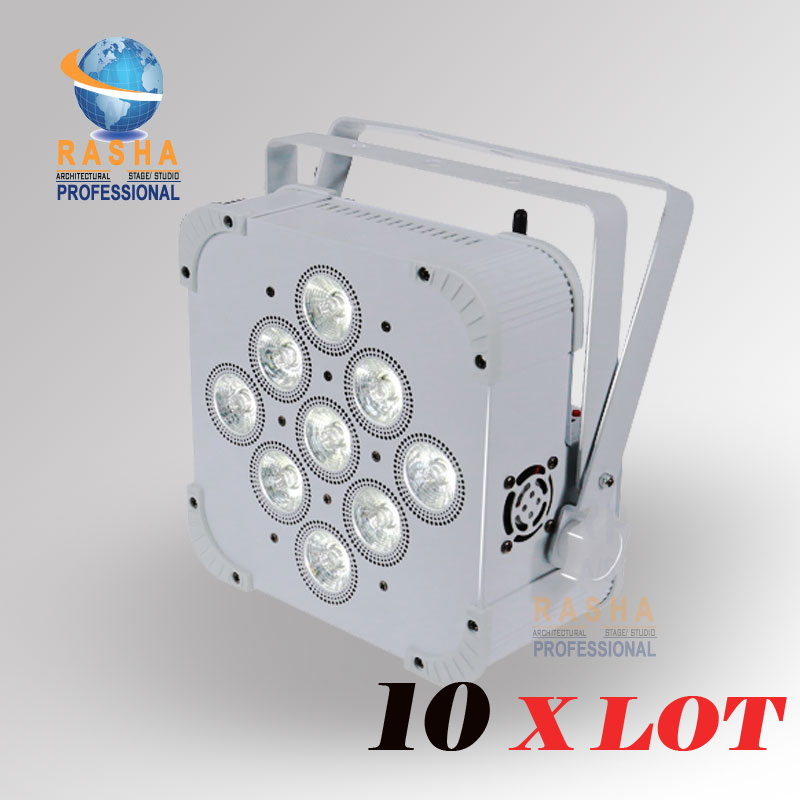 10X Rasha Hex V9 9pcs 10W 4in1 RGBA RGBW Battery Powered Wireless LED Flat Par Can