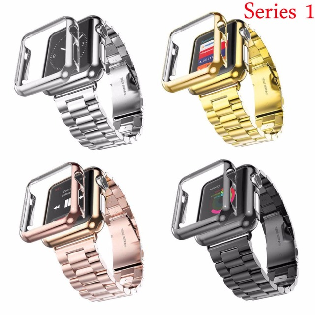 online store 948f5 8aebe US $14.87 16% OFF 38mm 42mm 3 Points Stainless Steel Strap Gold Plated  Protective Cover Watch Bands for Apple Watch Series 1 Case Band-in  Watchbands ...