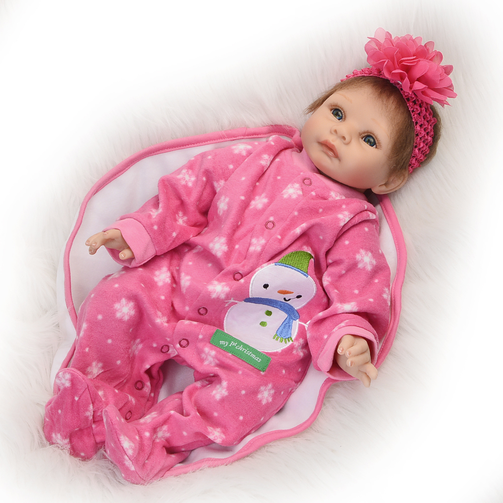 Gold Mohair Ethnic Reborn 22'' 55 cm Soft Silicone Baby Dolls with Pink Clothes Realistic Boneca Reborn kids Doll Toy Xmas Gifts realistic ethnic dolls reborn baby dolls 22 55 cm soft silicone baby alive doll wear clothes so truly baby toys birthday gifts