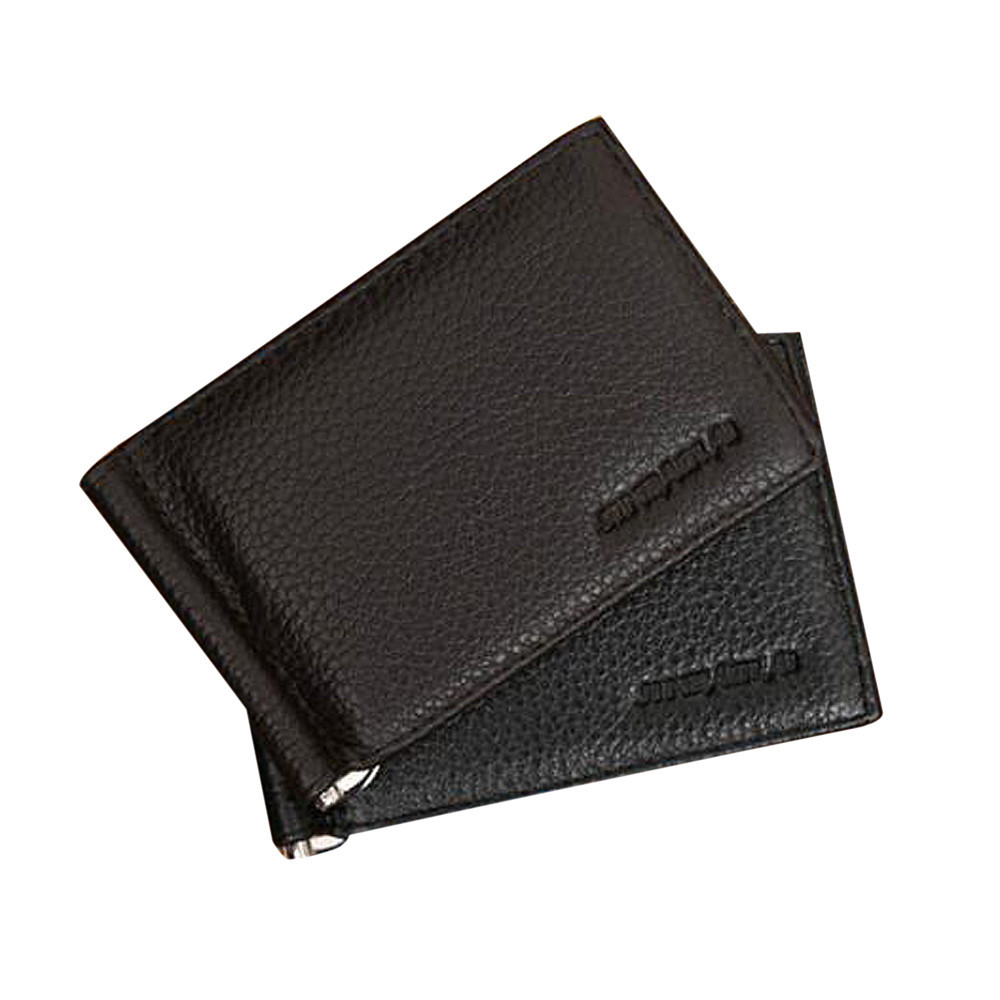 Fashion Faux Leather Black Brown Minimalist Convenient Dollar Clip Quality Ultra-thin Male Money Clips For Men hot