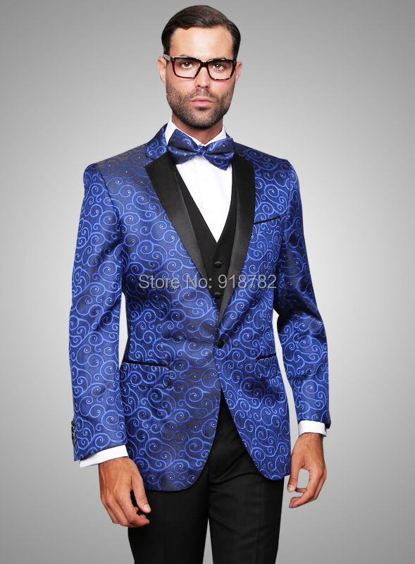 2017 Men Formal Dress Suits Fashion Royal Blue Blazer Suit Men ...