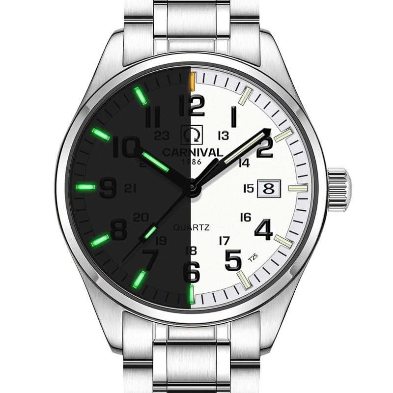 Carnival Luxury Brand Watch Men Quartz Men Watches Tritium Light Luminous Watch Male Waterproof Military reloj hombre C8638-1 цена