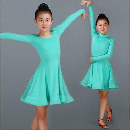 2018 Girls Latin Dresses For Dancing Ballroom Dance Dress Rumba Samba Spandex Children Samba Cha Cha Tango Skirt Standard Salsa