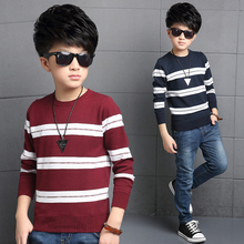 2016 Dongkuan big virgin boy sweater knitted sweater children's clothing boys stripe style baby clothing US Size