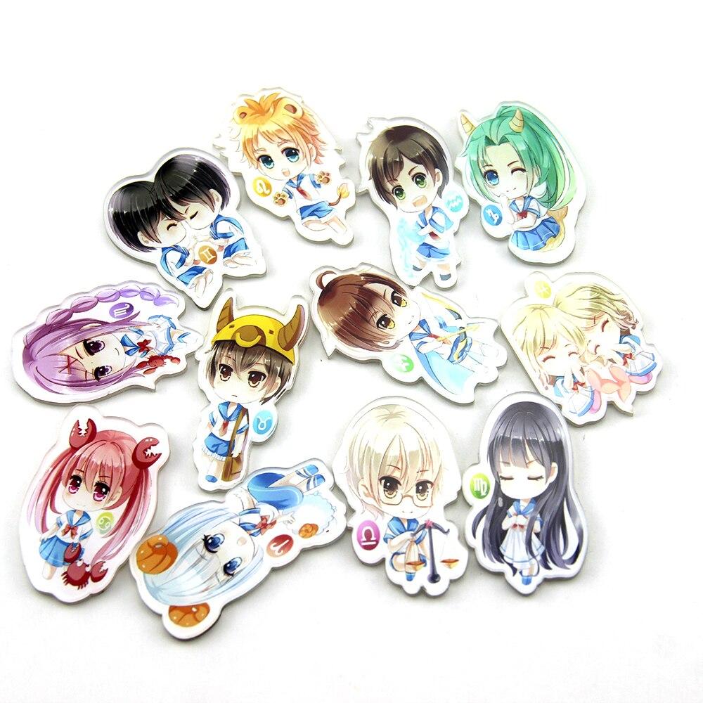 New Arrival Cartoon Anime Harajuku Kawaii Girl Icon Fridge Magnets Acrylic Magnetic Sticker Home Decor Refrigerator Sticker