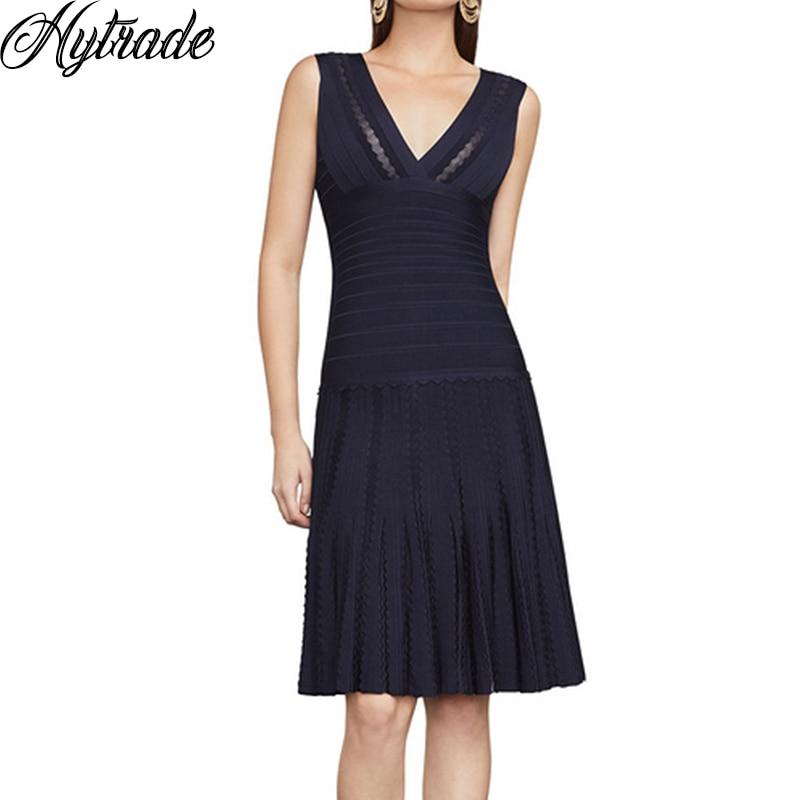 HL mode élégant bleu marine plissé ourlet retour une ligne col en V sans manches fête Vestido 2018 nouvelle dame Cocktail Bandage robe